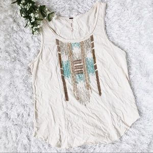 Free People Beaded Boho Design Cream Blue Tank M